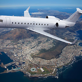 CEMAIR Canadair regional jet over Cape Town by Anthony Allen - Transportation Airplanes