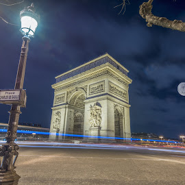 Arc at Night by Benjamin Tucker - Buildings & Architecture Public & Historical ( paris, europe, arc de triomphe, full moon, france )