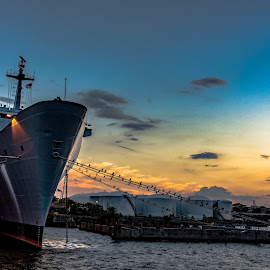 by Jackie Nix - Transportation Boats ( marine, water, inner harbor, peaceful, blue hour, ship, baltimore, sea, tourism, ocean, quiet, landscape, birds, cruise, dock, lights, sky, serenity, pier, maryland )