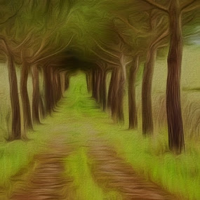 Ozark Cabin Road by Allen Crenshaw - Painting All Painting ( cabin, art, pine trees, road, painting, impressionism )