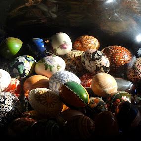 Eggs under glass...  by Campbell McCubbin - Public Holidays Easter ( pisanki, patterns, eggs, easter, decorated eggs )