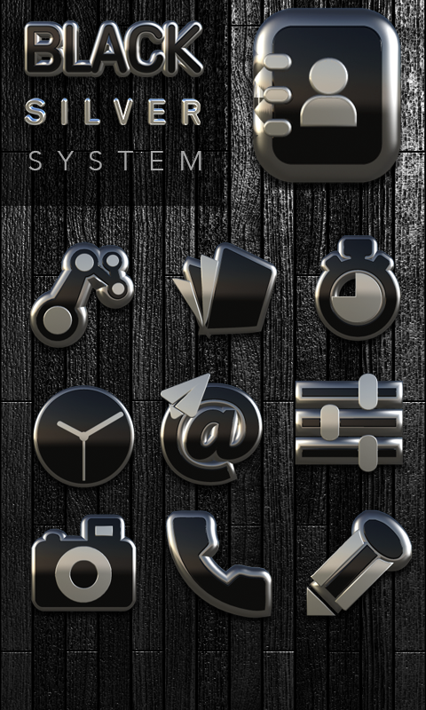 Icon Pack Black Silver 3D Screenshot 4