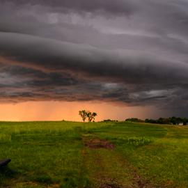 Storm by Garces & Garces - City,  Street & Park  City Parks ( clouds, cloud formations, stormy, bench, park, sunset, weather, storm, prairie )