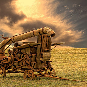 Farm Machinery by Dennis Granzow - Landscapes Prairies, Meadows & Fields ( field, digital art, old farm machinery, ohio rural, landscape )