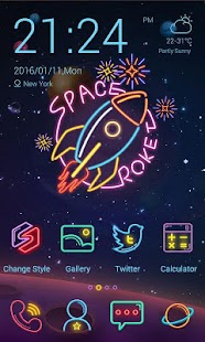 0 Space Neon Theme-ZERO Launcher App screenshot