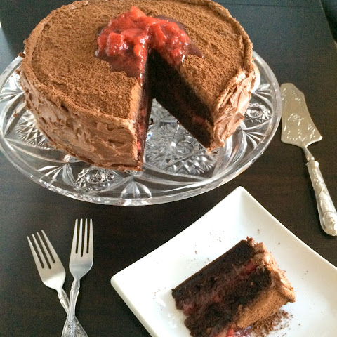 Double Chocolate Cake with Strawberry Filling