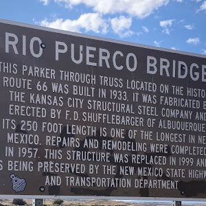 Rio Puerco BridgeThis Parker through truss located on the historic Route 66 was built in 1933. It was fabricated by the Kansas City Structural Steel Company and erected by F. D. Shuffelbarger of ...