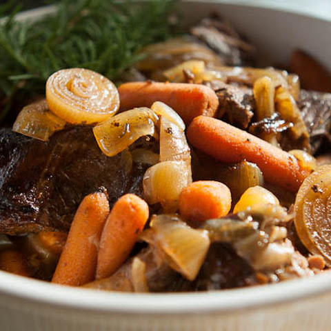Slow Cooker Pot Roast with Balsamic Caramelized Onions