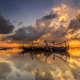 Lovely Morning by Choky Ochtavian Watulingas - Landscapes Waterscapes ( cloud formations, seashore, clouds and sea, reflections, cloudscape, ships, sunrise, seascape, sea and clouds )
