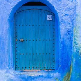 Hausnummer 33 by Winfried Rusch - Buildings & Architecture Architectural Detail ( farbe, blau, tür, afrika, chefchaouen, reisen, marokko tür, marokko )