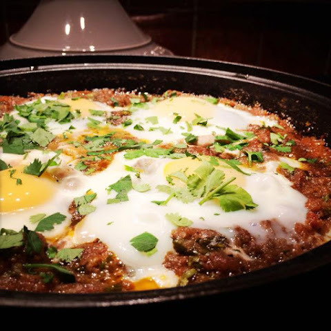 Classic Moroccan Meatball Tagine with Tomato Sauce and Poached Eggs