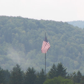 Rise Above by Kevin Greek - Novices Only Landscapes ( hills, flag, honor, american flag, trees )