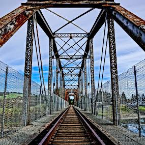 Old Railroad Bridge by Barbara Brock - Buildings & Architecture Bridges & Suspended Structures ( train trellis, train bridge, iron bridge, railroad bridge )