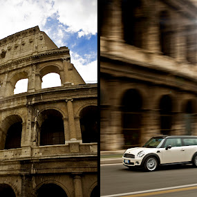 Cooper by Josh Balduf - Transportation Automobiles ( clouds, colosseum, sky, rome, white, dark, streets, italy, sun, mini, cream, cooper )