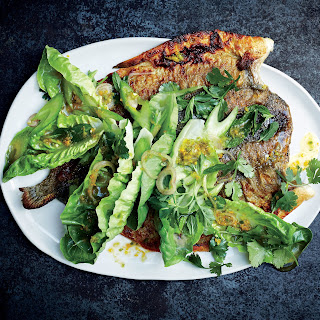 Butterflied Trout with Spicy Lettuce, Celery, and Herbs