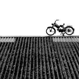 Parking on the roof by Gianluca Presto - Black & White Objects & Still Life ( motorcycle, motorbike, roof, minimalism, minimal, minimalist, black and white )
