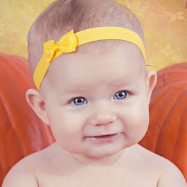 yellow bow by Jenny Hammer - Babies & Children Babies ( girl, pumpkin, baby, bow, cute, pumpkins, halloween )