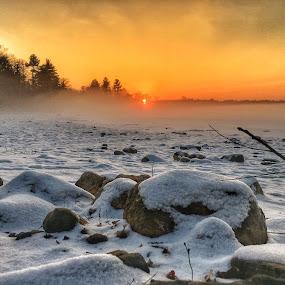 Foggy sun set by Rob King - Landscapes Sunsets & Sunrises ( fog, sunset, snow, white, god's beauty, sun )