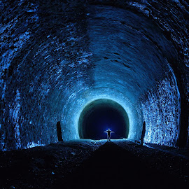 End of the tunnel by Schlufine Wut - Abstract Light Painting ( lostplace, urban exploration, light painting, blue, lightart, underground, tunnel )