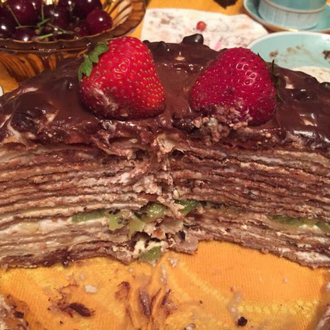 # Pancake cake with strawberry, banana and chocolate