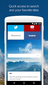 Yandex Browser For Android APK screenshot thumbnail 1