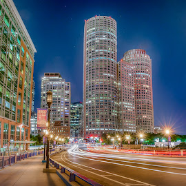 Boston Mass Light Trails by Paul Gibson - Buildings & Architecture Office Buildings & Hotels ( night photography, boston, light trails, long exposure, boston skyline )