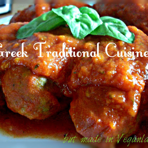 YiaYia's Soutzoukia (Greek ''meatballs'' in tomato sauce) Traditional Greek food but Vegan!!