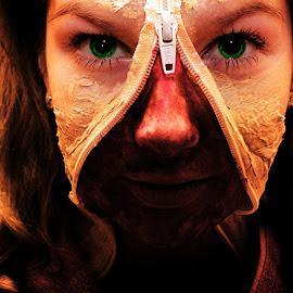 The Zombie by Stephanie Örjas - Digital Art People ( girl, zombie, green, woman, terror, zipper, blood, eyes, human,  )