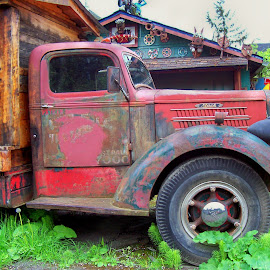 FADED GLORY #3 by William Thielen - Novices Only Objects & Still Life ( old, red, patina, blue, worn, truck, rusty, rust, big, mack )