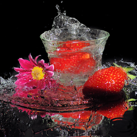 strawberry and flower by LADOCKi Elvira - Food & Drink Cooking & Baking ( water, fruits )