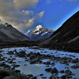 by Phil Bear - Landscapes Mountains & Hills ( glacier, stream, mountains, aoraki, hooker valley, valley, mt cook, new zealand, river )