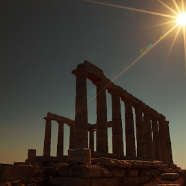 Temple of Poseidon by Leah Varney - Buildings & Architecture Public & Historical ( history, temple, ancient, temple of poseidon, greece, buildings, architectural, landscape photography, historical, travel photography, travel locations )