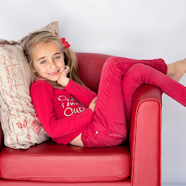 Little Red Riding Hood by Belinda  Burger - Babies & Children Child Portraits ( studio, pose, little girl, girl, red, daughter )