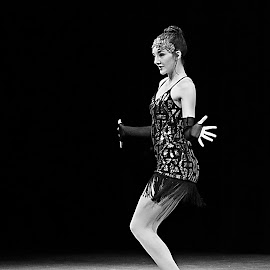 Dancer by Jerry Ehlers - People Musicians & Entertainers ( dance recital, black and white, female, performance, dancer )