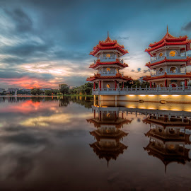 The Twin Pagodas @ Chinese Garden by Gordon Koh - Buildings & Architecture Other Exteriors ( clouds, reflection, park, pagoda, sunset, asia, long exposure, lake, travel, singapore, chinese garden,  )