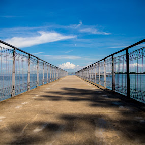 Jetty by Yi Xuan Lee - Backgrounds Holiday ( symmetrical, path, jetty, concrete, pulau ubin )