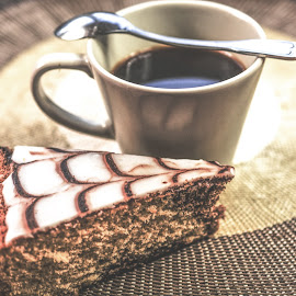 Coffee with cake by Monika St - Food & Drink Alcohol & Drinks ( cake, vintage, espresso, coffee, spoon )