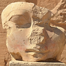 A Damaged Face. by Marcel Cintalan - Buildings & Architecture Architectural Detail ( history, face, torso, young woman, architecture, egypt, portrait )