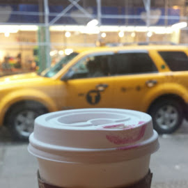 NYC coffee shop by Pam Kissner Sheedy - City,  Street & Park  Markets & Shops ( cab, taxi, coffee, coffee  cup, lipstick, nyc, coffee shop )