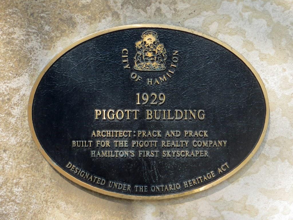 The Pigott Building, 36 James Street South, was Hamilton's first skyscraper. It was for decades an office building until its conversion to condo units. Plaque reads: Normal 0 false false false EN-CA ...