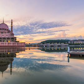 Golden Morning by Azzudin A. Aziz - Buildings & Architecture Public & Historical ( mirror, muslim, reflection, islam, masjid, mosque, putrajaya, malaysia, lake, jetty, morning, golden )