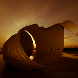 sunset on cleveleys beach by Jimi Neilson - Landscapes Beaches