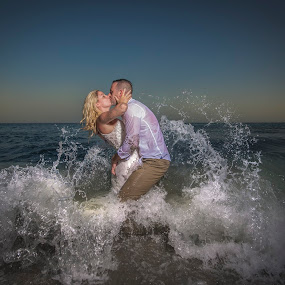Hot by Adrian O'Neill - Wedding Bride & Groom ( love, wedding, sea, wet, bride, groom, bride groom )