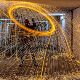 Sparkles in the night1 by Ovidiu Sova - Abstract Light Painting ( light painting, long exposure, sparkle, fire, tunnel )