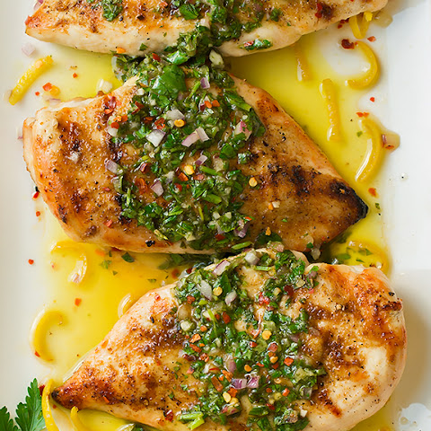Cumin Rubbed Grilled Chicken with Chimichurri Sauce