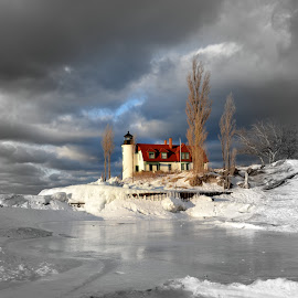 Frosen Point Betsie by Debbie Maglothin - Landscapes Waterscapes ( clouds, lake michigan, winter, icy, point betsie, ice, snow, frankfort michigan, snowy, cloudy )