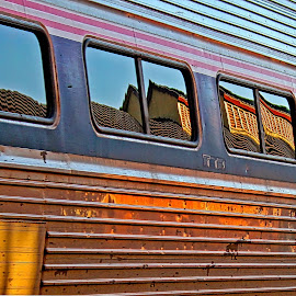 One Way Ticket by Judy Laliberte - Novices Only Objects & Still Life ( reflections, train, windows, light, sun )