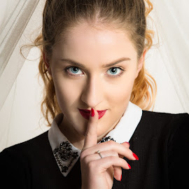 Shhh by Michael Payne - People Portraits of Women ( elise, blonde, female, beauty, red lipstick )