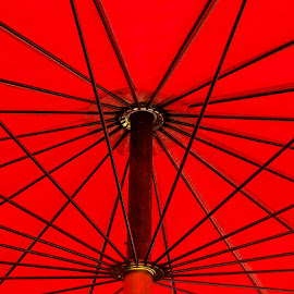 Red Umberlla by Ray Shiu - Abstract Patterns ( abstract, rod, red, shelter, umbrella, stalk, spindle, shield, rain )
