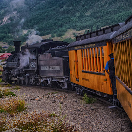 Pullin' In by Richard Michael Lingo - Transportation Trains ( colorado, transportation, landscape, silverton, trains )